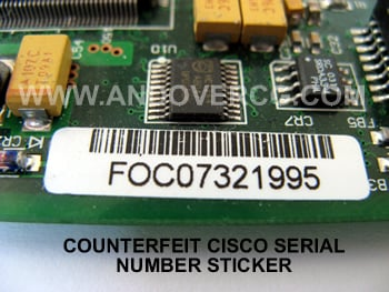 Counterfeit Cisco WIC-1DSU-T1-V2 Serial number sticker