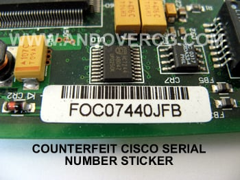 Fake Counterfeit Cisco WIC-1DSU-T1-V2 Serial number sticker Example